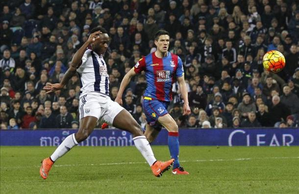 Berahino wonderfully finishes West Brom's third goal as Palace found themsevles 3-0 down at half-time (photo: Getty)