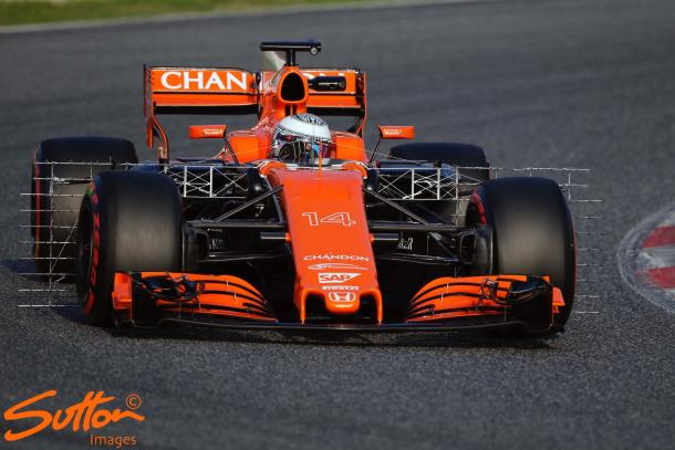 Fernando Alonso's MCL32 was limited to just 29 laps after an oil sensor issue in his Honda Power Unit. (Image Credit: Sutton Images)