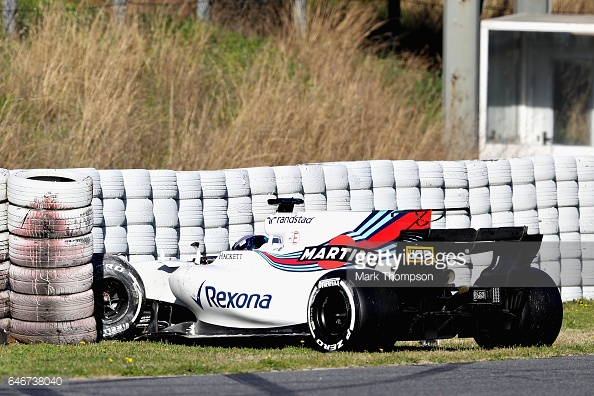 Lance Stroll's day, and test, ended early after he crashed exiting turn five. (Image Credit: Mark Thompson/Getty Images)