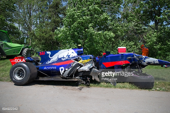 Carlos Sainz wrecked his Toro Rosso and collected Felipe Massa's Williams on the way past. (Image Credit: Peter J Fox/Getty Images)