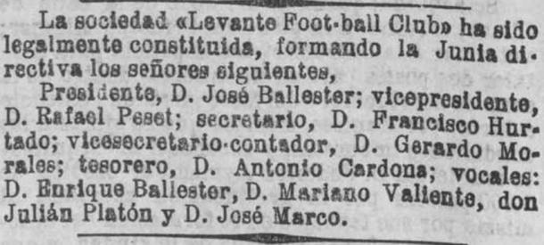 Extracto de una nota de prensa que anunciaba el nacimiento del Levante FC / Fuente: Levante Web Oficial