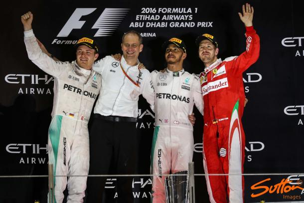 A visibly emotional Rosberg overcame Hamilton's dubious tactics, a feat which in itself was good enough to take the title. (Sutton Images)