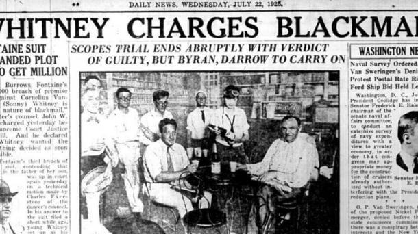 Noticia acerca del juicio (22 de julio de 1925) | Fuente: Daily News