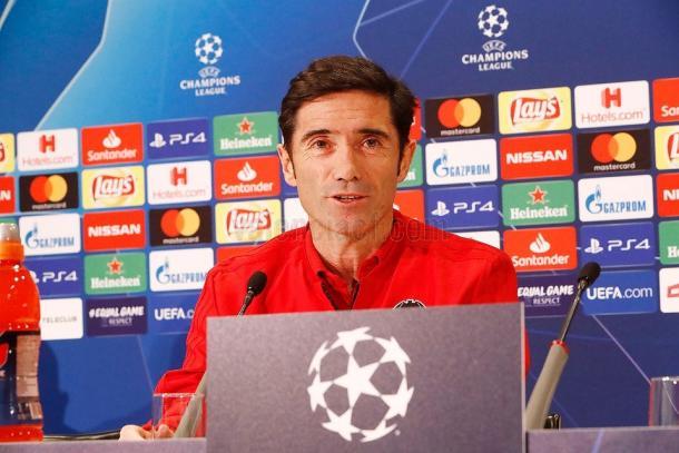 Marcelino en rueda de prensa previa al partido de Champions | Fuente: Valencia CF