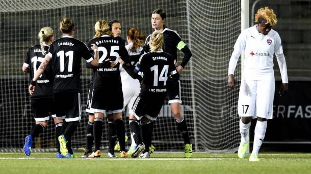 Lundgren was picking the ball out of the back of her net as Frankfurt beat Rosengård 1-0 last week. (Photo: hessenschau.de)