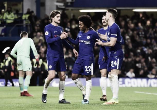 Los jugadores del Chelsea celebran uno de los cinco tantos.   Foto: Chelsea FC