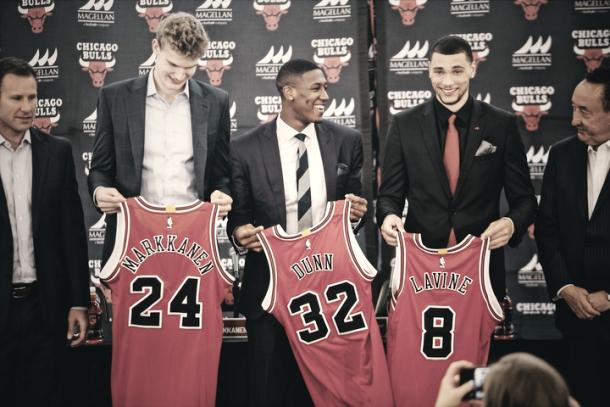 Markkanen, Dunn y Lavine | Foto: NBA