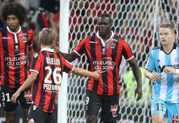 Balotelli celebrates during his two goals against Marseille at the weekend | Photo: Getty