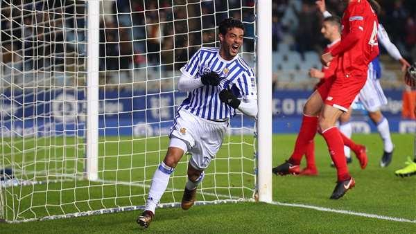 Carlos Vela celebra su último gol con la camiseta de la Real. Foto: Real Sociedad