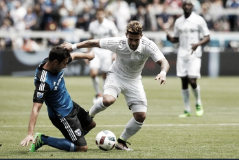 Andres Imperiale and Dom Dwyer battle for a ball in last Sunday's San Jose win Photo Courtesy of Cary Edmondson/ USA Today Sports
