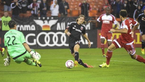 Chris Rolfe (Center) will need to perform at his best for D.C. United in their CCL quarterfinal match against Querétaro F.C. on Tuesday. Photo provided by Jonathan Newton-Washington Post
