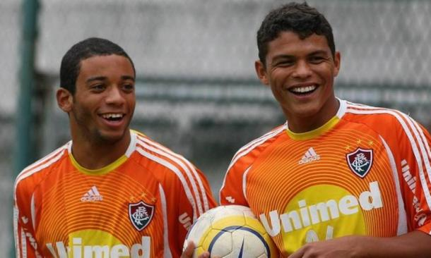 Marcelo e Thiago Silva jogaram juntos no Fluminense em 2006 (Foto: Fernando Maia)