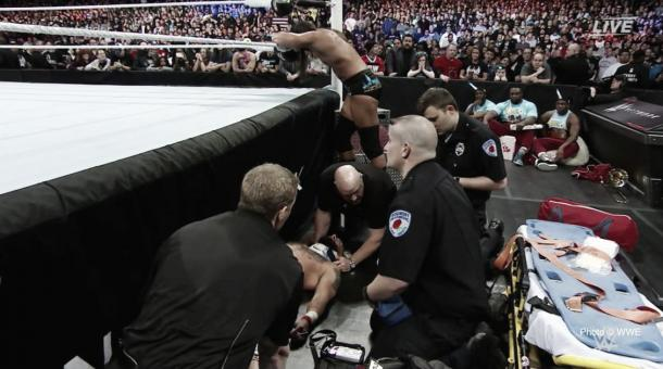 The medical team were quick to act. Photo- WWE