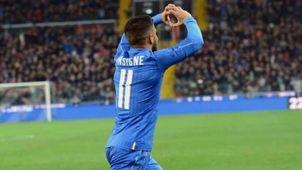 Lorenzo Insigne, attaccante del Napoli, dopo il gol alla Spagna | Foto: Gazzetta.it