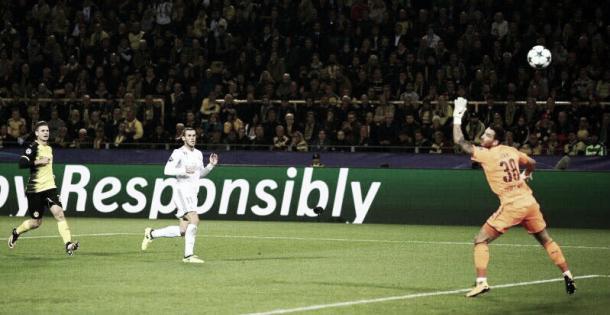 Momento del gol en su último partido ante el Borussia. Fuente: Instagram Gareth Bale