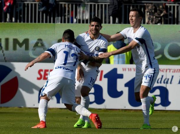 Los jugadores del Inter celebrando uno de los goles en su último partido ante el Cagliari / Foto: Inter de Milán
