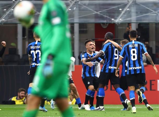 Jugadores del Inter celebran un gol. Fuente: Inter de Milán