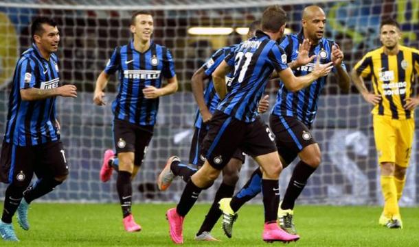 Inter celebrate a goal in their 4-0 win (photo: fox)