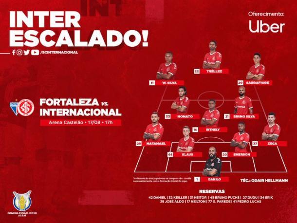 Escalação do Inter (Imagem: Divulgação / SC Internacional)