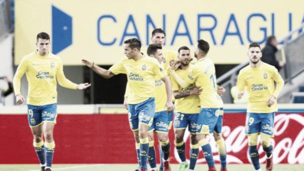 Jugadores de Las Palmas celebrando el gol | Foto: www.laliga.es