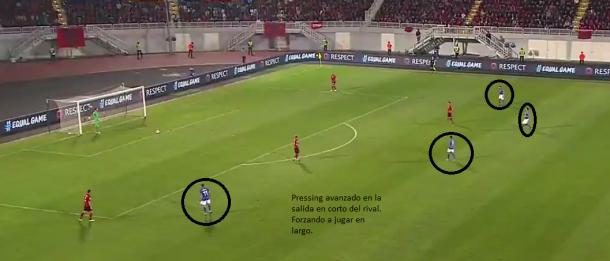 Pressing avanzado en la salida del balón del rival, forzando a jugar en largo.