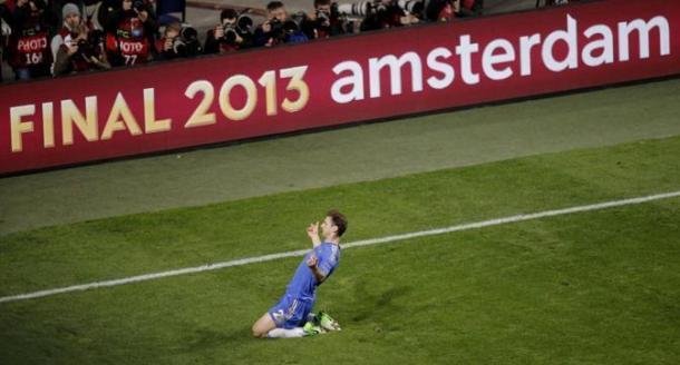 Ivanovic, celebrando el gol de la final ante el Benfica en el Amsterdam ArenA / Corriere