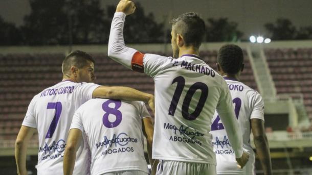 Los jugadores del Jaén celebran el primer tanto. Fuente: LaLiga