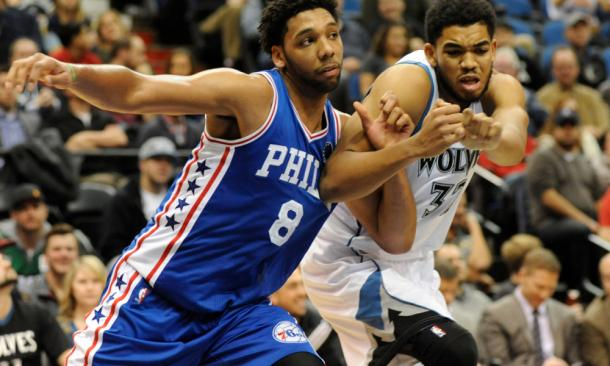 Philadelphia 76ers center Jahlil Okafor (8) boxes out against Minnesota Timberwolves center Karl-Anthony Towns (32). |Marilyn Indahl-USA TODAY Sports|