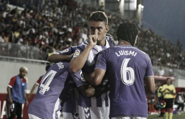Jaime Mata celebrando un gol con el Real Valladolid. Fotografía: La Liga