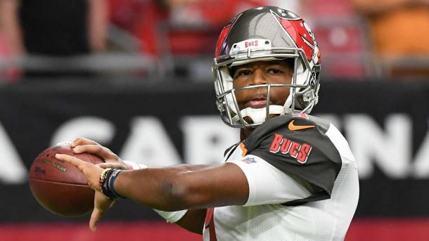 Jameis Winston could miss the divisional opener against the New Orleans Saints | Source: Getty Images