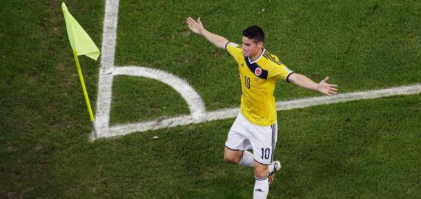 James Rodríguez celebra su cuarto gol, el mejor del mundial Brasil 2014 ¡ Foto: FIFA