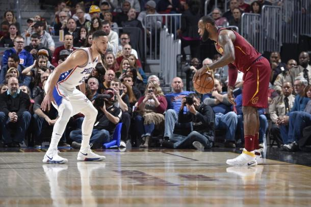 Generations face off when James led his Cavaliers against Ben Simmons of the Philadelphia 76ers. Photo: David Liam Kyle/NBAE/Getty Images.