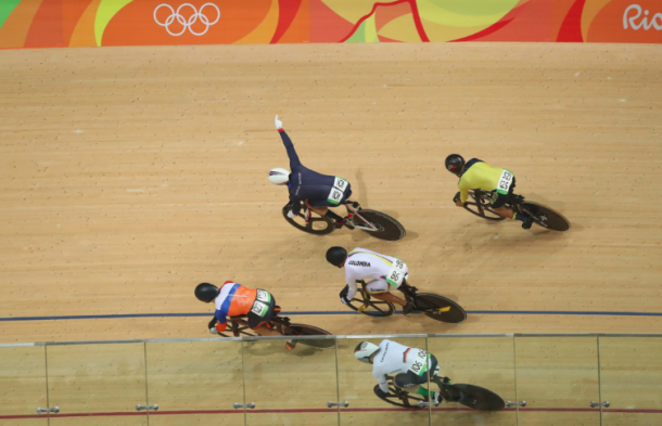 Kenny celebrates his sixth Olympic gold medal after winning the Keirin.