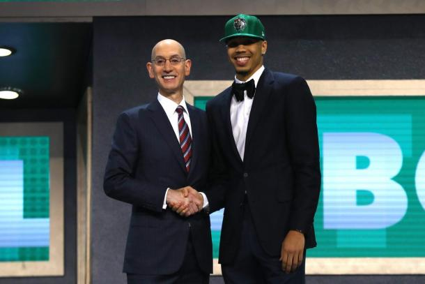Jayson Tatum with NBA Commissioner Adam Silver after being drafted at number 3 on Thursday. Photo: Getty Images