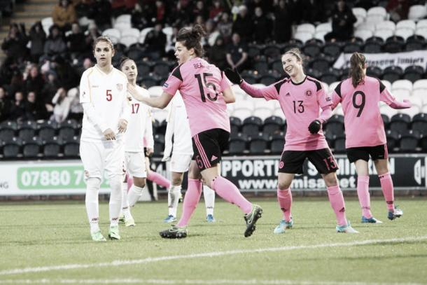 Jennifer Beattie celebrates scoring against Macedonia. Photo: Andy Buist