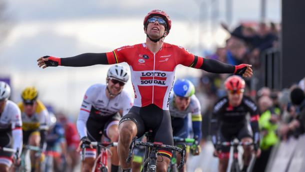 Lotto Soudal's Jens Debusschere celebrates victory (image via: skysports)