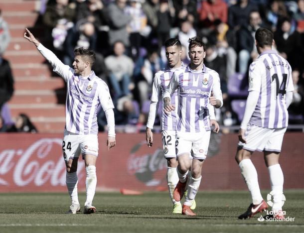 Jugadores del Valladolid ante el Celta | Foto: LaLiga
