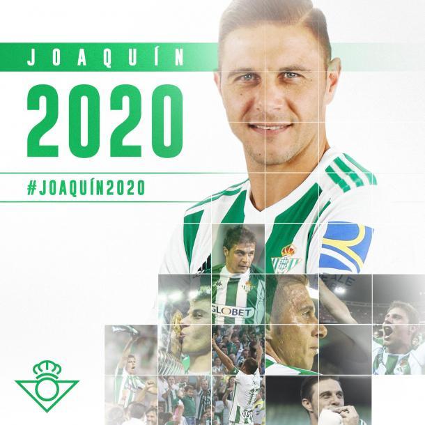 Joaquín será verdiblanco hasta 2020. Foto: Real Betis