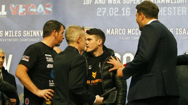 Gallagher and McGuigan get up close at the weigh in (Sky Sports)