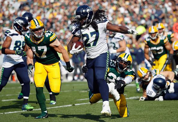 Ex-Packers, Lacy foi muito vaiado pelos torcedores de GB e teve ruim primeiro tempo: apenas seis jardas em quatro corridas | Foto: Joe Robbins/Getty