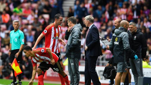 Above: John O'Shea coming off in the first-half of Sunderland's  2-1 defeat to Middlesbrough | Photo: Sky Sports