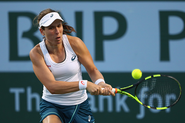 Johanna Konta Plays A Shot Against Karolina Pliskova. Photo: Julian Finney/Getty Images