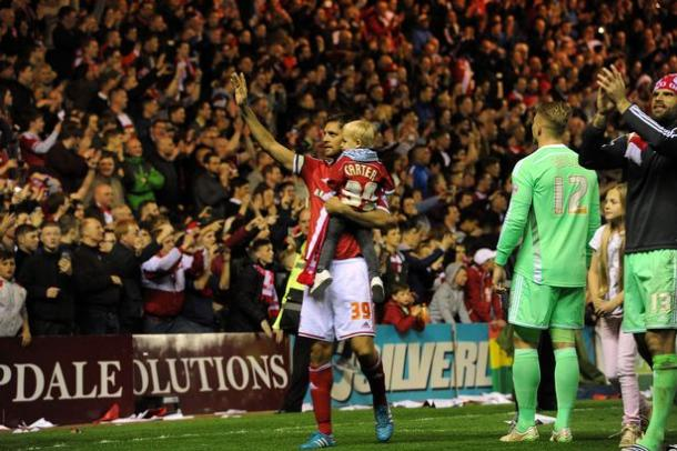 Woodgate salutes the Boro fans after his final home game against Brentford | Photo: Gazette