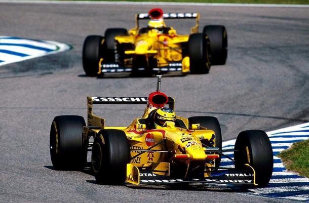 Ralf Schumacher e Fisichella em 1997 na jordan (Foto: Reprodução)