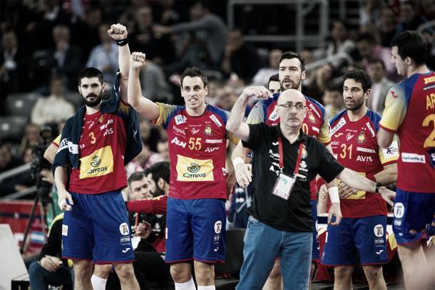 Jordi Ribera en el banquillo de la selección. Foto: EHF.