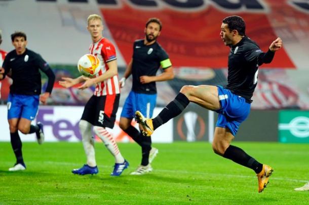 Molina anotó el primer gol del Granada en Europa League 20-21 | Foto: Pepe Villoslada / GCF