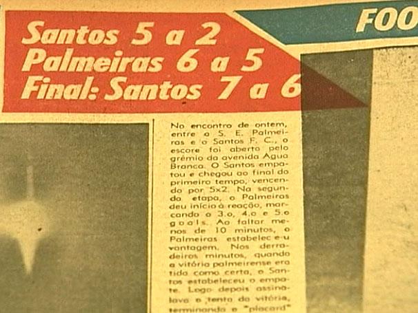 Manchete de um jornal da época sobre o jogo