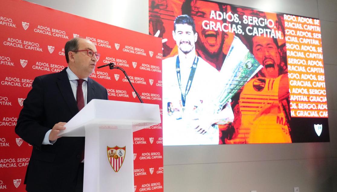 José Castro, presidente del club habla en la despedida || Foto: Sevilla FC