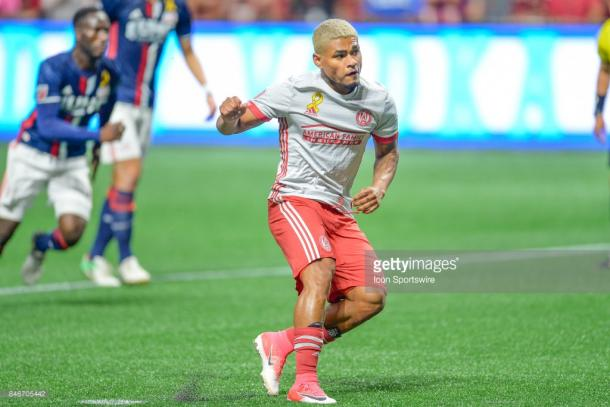 Josef Martinez scores a penalty in a 7-0 win over the New England Revolution. (Source: Rich von Biberstein/Icon Sportswire via Getty Images)