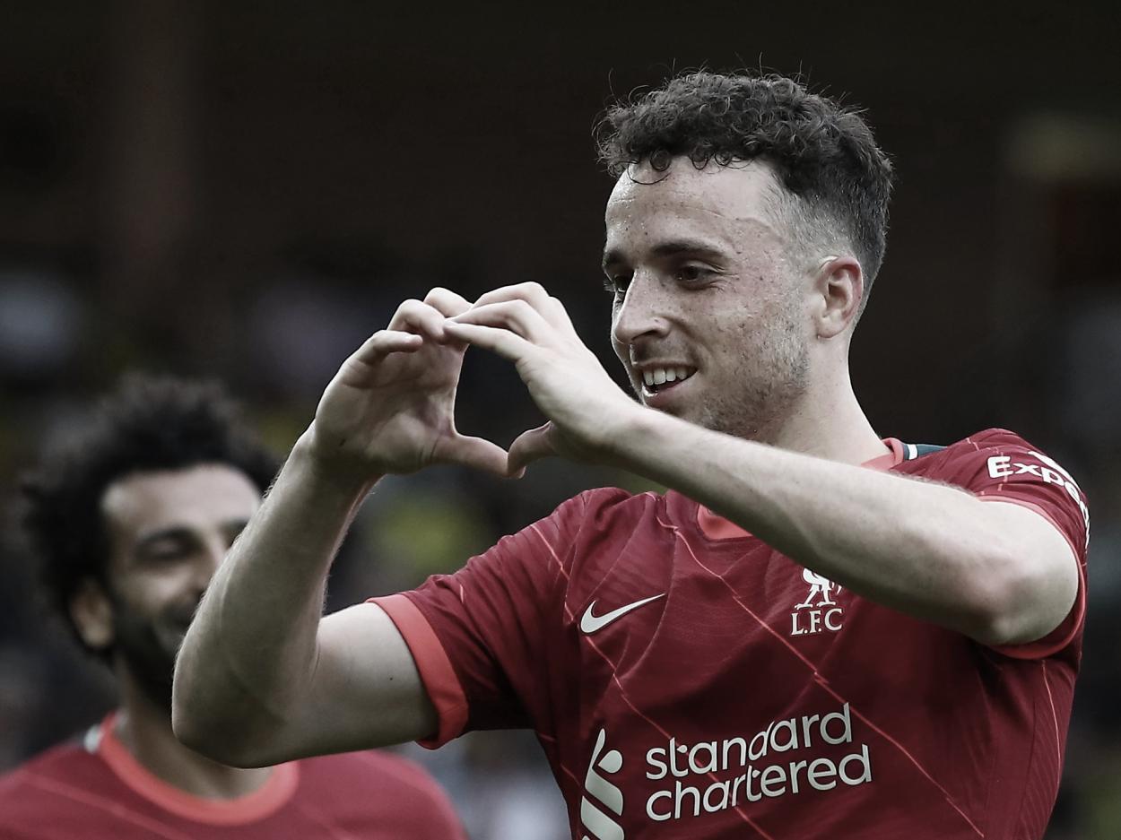 Diogo Jota y el 1-0. Foto: Liverpool.